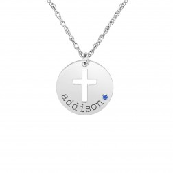 Kids Name Birthstone Disk With Cutout Cross Pendant (16mm)