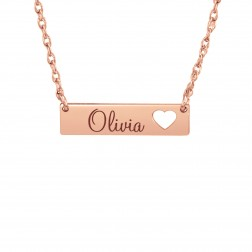 Kids Cutout Heart One Name Bar Necklace
