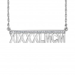 Diamond Accent Roman Date Bar Necklace 8x35mm