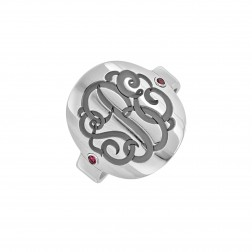 Birthstone Recessed Monogram Ring (18mm)