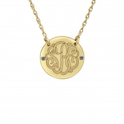 Birthstone Classic Script Monogram Necklace (18mm)