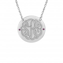 Birthstone Classic Script Monogram Necklace (23mm)