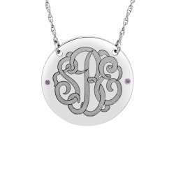 Birthstone Classic Script Monogram Necklace (28mm)