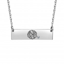 Diamond Monogram Bar Necklace (8x30mm)