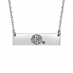 Birthstone Monogram Bar Necklace (8x30mm)