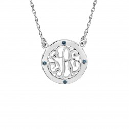 Birthstone Bordered Classic Script Monogram Necklace (20mm)