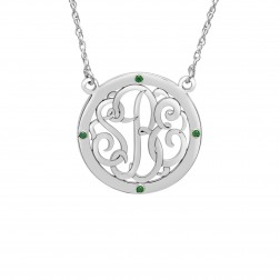 Birthstone Halo Classic Script Monogram Necklace (25mm)