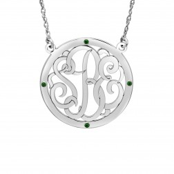 Birthstone Halo Classic Script Monogram Necklace (30mm)