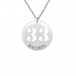 Personalized Cutout Number And Name Pendant (22mm)