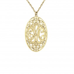 Oval Monogram Pendant (35x22mm)