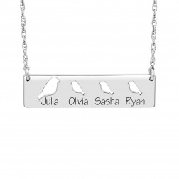Cutout Bird Names Bar Necklace (9.5x36mm)