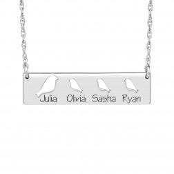 Cutout Bird Names Bar Necklace (9.5x36mm)