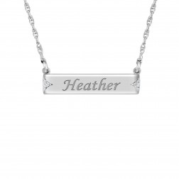 Diamond Accent Bar Name Necklace (6.5x28mm)