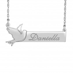 Bird Bar Name Necklace (14x37mm)