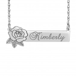 Rose Bar Name Necklace (14x37mm)