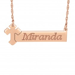Cross Bar Name Necklace (14x37mm)