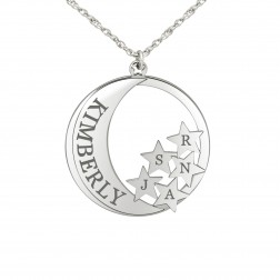 Star Initials & Moon Pendant (28mm)