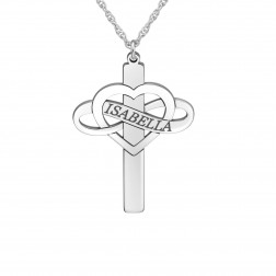 Heart Infinity Cross Name Pendant (30x23mm)