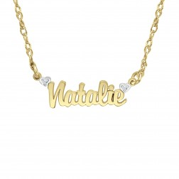 Diamond Accent Name Necklace (6.6x20mm)