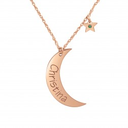 Birthstone Star And Moon Necklace (28mm)