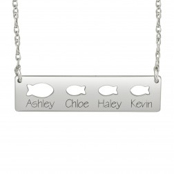 Cutout Fish Names Bar Necklace (9x36mm)
