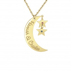 Love you to the Moon and Back Hanging Birthstones Pendant (32x17mm)