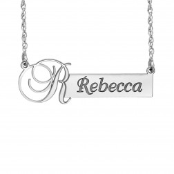 Initial Bar Name Necklace (11x37mm)