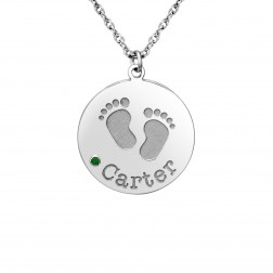 Birthstone Baby Feet Pendant Disc (20mm)
