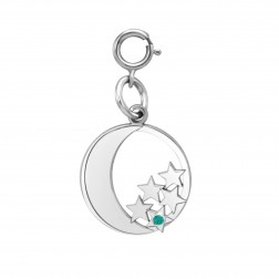 Moon and Stars with One Birthstone Spring Ring Clasp Charm (15mm)