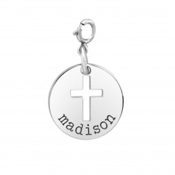 Cross Disc Charm with Spring Ring Clasp Charm (15mm)