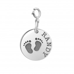 Baby Feet Disc Spring Ring Clasp Charm (15mm)