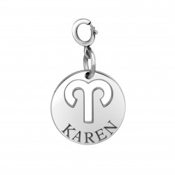 Zodiac Disc with Name Spring Ring Clasp Charm (15mm)