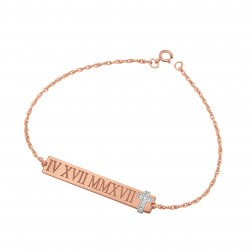 Roman Numeral With Diamond Accent Cross Bracelet (6x38mm)