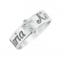 Name And Diamond Accent Cross Ring (6mm)
