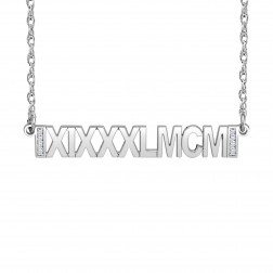 Diamond Accent Roman Date Bar Necklace (6x38mm)
