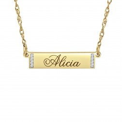 Diamond Accent Bar Name Necklace (6x24mm)