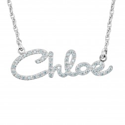Fashion Script Diamond Nameplate