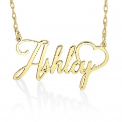 Personalized Cursive Name Necklace with Heart (17.7 x 32.6mm)