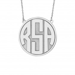 Block Recessed Monogram Necklace