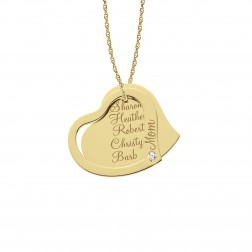 Mother's Heart Pendant with CZ Accent 26mm