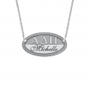Oval Greek Letters Name Plate 17 x 30 mm Personalized Jewelry