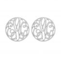 Classic Bordered Monogram Stud Earrings 20 mm Personalized Jewelry