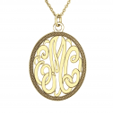 Classic Oval Monogram Pendant 28 x 24 mm Personalized Jewelry
