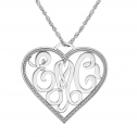 Alison and Ivy Personalized Monogram Heart Pendant (28x31mm)