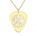 Classic Guitar Pick Monogram Pendant 30 x 25 mm Personalized Jewelry