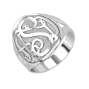 Classic bordered Monogram Ring 18 mm Personalized Jewelry