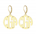 Block Monogram Leverback Earrings 25 mm Personalized Jewelry
