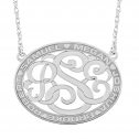 Alison and Ivy Classic Bordered Oval Monogram Pendant (25x32mm)