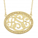 Classic Bordered Oval Monogram Necklace 25 x 32 mm Personalized Jewelry